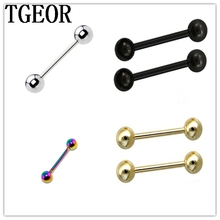 free shipping Fashion 1 Pair anodized colors mixed colors tongue barbell Stainless Steel piercing tongue ring