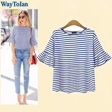 WayToIan Women Butterfly Sleeve Casual T Shirt Striped Blue and White O Neck Summer Spring T-shirt Woman Clothes Tee Shirts Tops(China)
