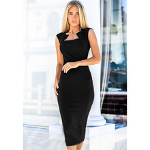 Buy 2018 Summer Women Fashion Sexy Bodycon Retro Party Dress Black Vintage Knee Length Pencil Work Dresses Plus Size for $7.49 in AliExpress store