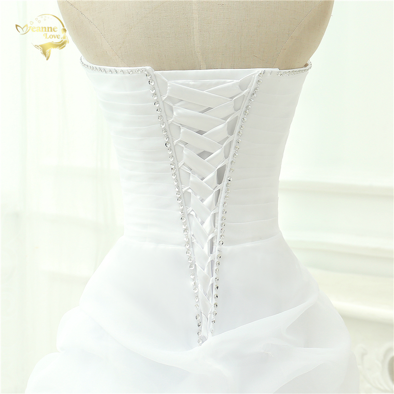 Vestido De Noiva 2017 New Shiny Organza Women Bride Sweetheart Beading Front Short Back Long White Ivory Wedding Dresses OC3399 11