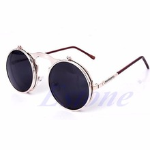 2017 Unisex Gothic Steampunk Mens Sunglasses Coating Mirrored Sunglasses Round Circle Sun glasses Retro Vintage Gafas de Sol