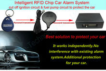 10PCS wholesale price RFID transponder immobilizer one way car alarm with horn siren auto arming car security anti-theft device(China)