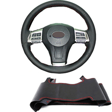 Black Artificial For Subaru Impreza 2008-2012 Legacy 2008-2010 Forester2008-2012 Exiga 2 Hand-Stitched Car Steering Wheel Cover()
