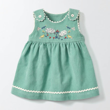 2017 new Autumn toddler girls embroidery cartoon Animals vest dress children clothes corduroy sleeveless kids princess vestidos(China)