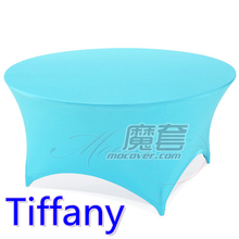 Spandex table cover,Tiffany Colour,round lycra stretch table cloth,fit 5ft-6ft round wedding,hotel,banquet and party decoration(China)