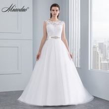 Miaoduo Wedding Dress New Lace Wedding Dresses Satin Backless Wedding Gowns Wedding Bridal Bride Dresses vestidos de noiva(China)