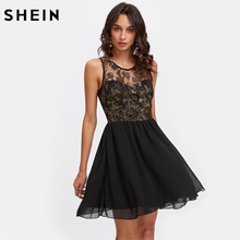 SHEIN Floral Mesh Sweetheart Cute Dress Party Wear Short Dresses Womens Black Sleeveless Sexy A Line Summer Dresses(China)