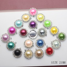 New 2016 10PCS 20mm Round Flatback Rhinestone Button Crystal DIY Wedding Invitation Girl Hair Flower Accessory Mix 24 Colors