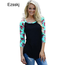 Europe Style Striped Floral T Shirt Women Casual 3/4 Sleeve Slim Fit T Shirt Femme Plus Size Floral Casual Basic T Shirt Fall(China)