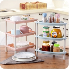 HOT 3 Layers Floor Stand Rack kitchen bathroom multi-function plastic shelf organizer dismountable Storage Shelves 3color(China)