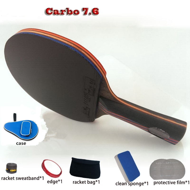 table tennis racket WRB 7.6 pat set 6 free gifts long handle short handle professional carbon fiber table tennis racket<br>