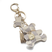 IPARAM 2017 New fashion!Key Chain Accessories Tassel Key Ring PU Leather Bear Pattern Car Keychain Jewelry Bag Charm(China)