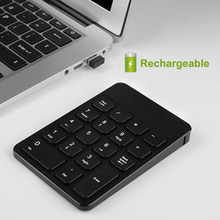 [AVATTO] Rechargeable 2.4G Wireless USB Numeric Keypad Numpad Number 18 keys Pad Chocolate Keyboard for Laptop Desktop PC(China)