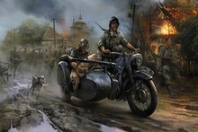 German vehicles motorcycles military wars artistic paintings soldiers Motorcycle poster fabric cloth silk wall poster print