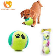 1Bag/3pcs Funny Pet Dog Chew Toy Paw Printed Tennis Ball Toys For Small Dogs Bite Resistant Rubber Training Supply DOGGYZSTYLE