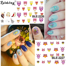 Rolabling Cute Owl Cartoon Nail Sticker Decal For Nail Water Transfer Cheap Nail Sticker Decoration Decal On Nail(China)