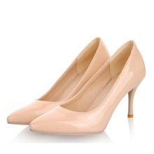 2016 New Women Nude Color Patent Leather Pumps Red Pointy Toe Basic Work Stiletto High Heel Pump Stilettos Party Shoes  A1001