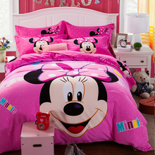100% Cotton 3/4Pcs Cartoon Mickey Bed Comforter Duvet Covet Set For Kids Hello Kitty Bedding Set Full/Queen/King Size Bed Linen