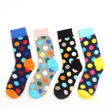 2017 Casual Korea Round Wave Point Of Pure Cotton Japanese Institute Wind For Couple Men And Women In The Tube Socks(China)
