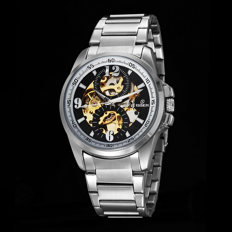 GOER brand Mens mechanical wrist watch male Automatic Luminous Skeleton Stainless Steel waterproof sports watch relogio<br><br>Aliexpress