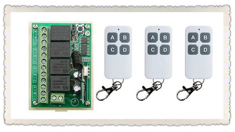 NEW DC12V 4CH 4Channe 10A RF wireless remote control switch System, 3 X Transmitter + 1 X Receiver,315/433 MHZ<br><br>Aliexpress