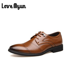 Big size Oxfords mens genuine leather shoes dress shoes wedding shoes business lace up Pointed toe flats big size 38-48 AA-17(China)