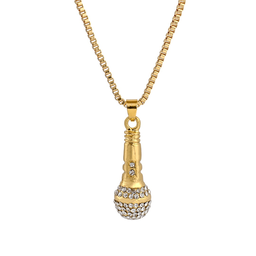 Ice Out Chain Necklace Rapper Microphone Pendant Men Women Gold Color Rhinestone NecklaceShellhard Hip Hop Jewelry Accessories