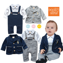 2017 Spring Cute Gentleman Baby Boys Long Sleeve Romper Set Toddler Infant Suspender Jumpsuit + Coat Outfits Baby Party Vestidos