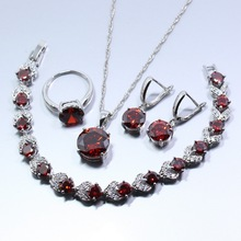 925 Silver Fashion Wedding Bridal Attractive Red Garnet  Jewelry Set Earring Necklace Bracelet Pendant Ring For Women W37