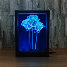 Colorful Rose 3D Night Light Photo Frame LED Table Lamp Novelty Lighting For Bedroom Decoration Wedding Valentine's Day Gift(China)