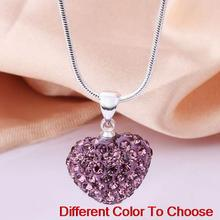 whosale fashion christmas gift mixed rhinestone heart Silver Plated snake chain Crystal Shamballa Necklace For Women men.