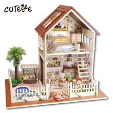 Doll house furniture miniatura diy doll houses miniature dollhouse wooden handmade toys for children birthday gift  A-025