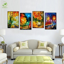 Modular 4pcs Fall Leaves Melamine Board Canvas Oil Painting Autumn Landscape Pictures Framed Poster Room Decorate Wall Art Paint(China)