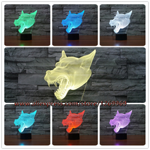 2017 Fierce Animal Wolf Dog Head 3D LED Lamp RC USB Touch Remote RGB Controler Colorful Illusion Night Light Props Lampara Decor