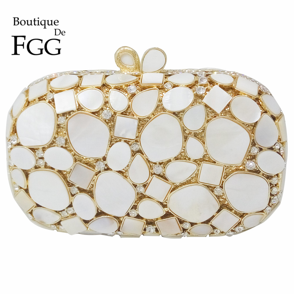 Natural Shell Women Luxury Crystal Evening Bags Clutch Purse Bridal Wedding White Handbag Hardcase Gold Metal Party Shoulder Bag(China (Mainland))
