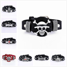 Anime Attack on Titan Naruto Konoha Sharingan Leather Bracelet One Piece Black Butler Fairy Tail Death Note Bleach Wristband(China)