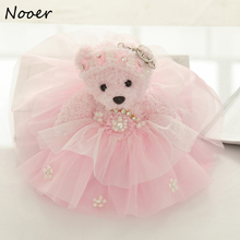 Nooer Cheap Price 25cm Cute Wedding Teddy Bear Plush Toy Wedding Dress Teddy Bear Doll Keychain Birthday Girlfriend Girls Gift