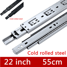 2 Pairs 22 inches 55cm Three Sections Slide Furniture Slide Drawer Track accessories Guide Rail for Hardware Fittings(China)