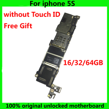 IOS System Logic board for iphone 5S 100% original motherboard without Touch ID 16GB 32GB 64GB unlocked Mainboard NO Fingerprint