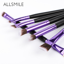 6 PCS ALLSMILE Makeup Brushes set Beauty Eye Shadow Foundation Eyebrow Eyeliner Eyelash Lip  Cosmetic Tool Kit maquiagem
