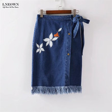 Stylish Flower Embroidery Denim Skirt Women High waist Fringed Pencil Skirt Lady Lace Up Vintage Skirt