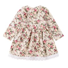 Pretty Girls Dress Lovely Floral Print Long Sleeve Flower Kids Dress Baby Girl Clothes Princess Dresses 2-7Y