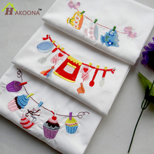 HAKOONA Brand Super-Absorbent Embroidered Cups Cakes Tea Towel Upscale Home Cloth Table Napkins Hand   Kitchen Towels 45*70cm