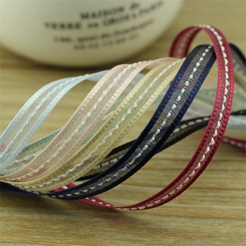 New 5meter/lot 7mm Snow Yarn Ribbon Handmade DIY Hair Accessories Korean Edition Bow Material elastic ribbon T-016