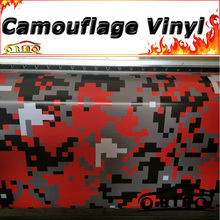 Black Red Gray Digital Camouflage Wrap Vinyl Truck Vehicle Pixel Camouflage Wrapping Sticker Film Covers Matte/Glossy Finish
