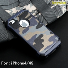 case for iPhone 4s Army Camo Camouflage Pattern back cover Hard Plastic and Soft TPU Armor protective phone cover for iPhone4 4S(China)