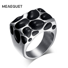 Meaeguet 16mm Wide Fashion Big Rings For Women Men Jewelry Trendy Stainless Steel Resin Wedding Rings Jewelry(China)