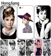 HongJiang Audrey Hepburn fashion girl lady cell phone Cover case for iphone 6 4 4s 5 5s SE 5c 6 6s 7 8 plus case for iphone 7 X(China)