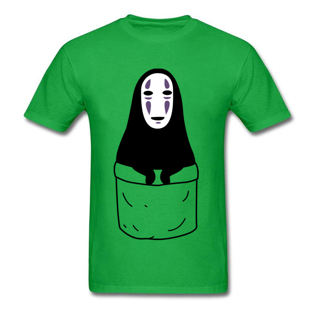 Mens Tops Shirts Kaonashi in a pocket Newest Printed On T-shirts 100% Cotton Short Sleeve Funny Sweatshirts Round Neck Kaonashi in a pocket green