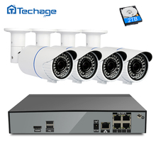 Techage 4CH Security POE NVR CCTV System Kit 4.0MP Outdoor 2.8-12mm Varifocal Zoom Lens POE IP Camera HD Surveillance Set H.265